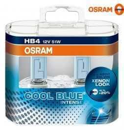 OSRAM COOL BLUE INTENSE HB4 Lampada alogena per proiettori 9006CBI-HCB 4200K e 20% di luce in più - confezione Duobox