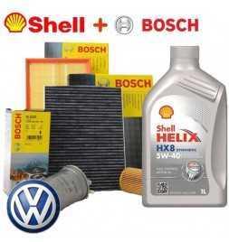Kit tagliando olio motore SHELL HELIX HX8 5W40 5 LT 4 FILTRI BOSCH VW GOLF 4 1.9 85 KW
