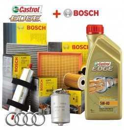 Kit tagliando olio CASTROL EDGE 5W40 5LT 4 FILTRI BOSCH AUDI A4 1.9 TDI B6 85 KW