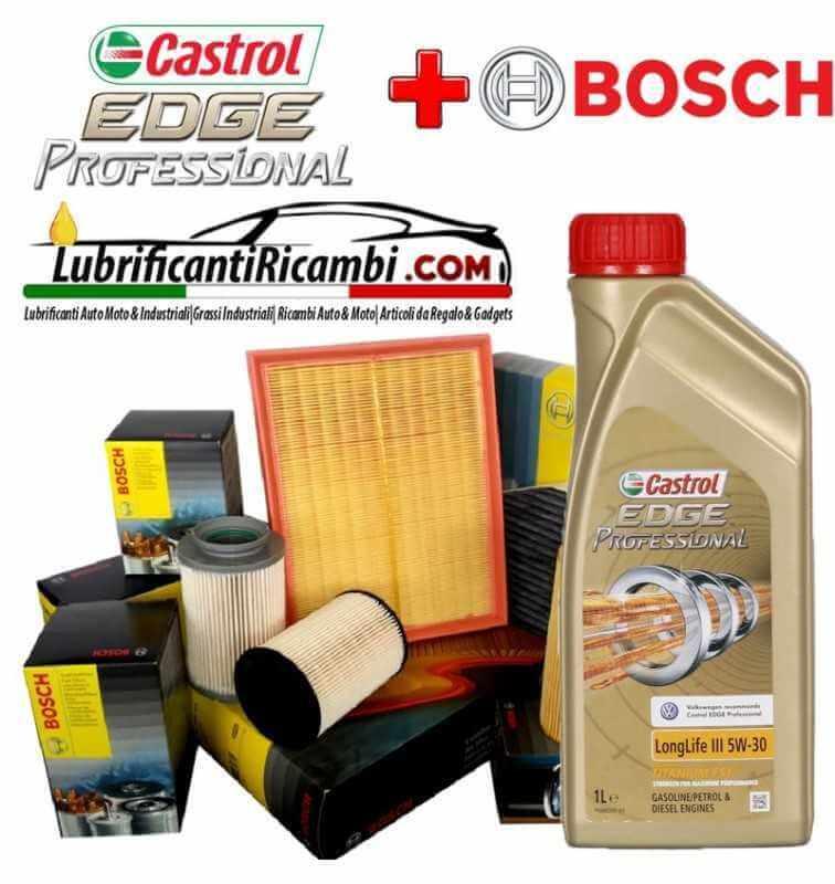 Kit tagliando olio CASTROL EDGE 5W30 9LT 4 FILTRI BOSCH (F026407002, 0450906459, F026400028, 1987432422)