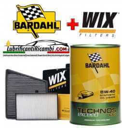 Kit tagliando 4 FILTRI WIX + 9LT OLIO BARDAHL TECHNOS C60 EXCEED 5W40 AUDI A6 3.0 TDI C6 dal 2004 al 2011 165Kw