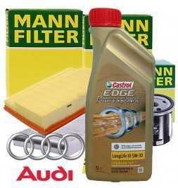 Kit tagliando olio motore 6lt Castrol EDGE Professional LL 03 5W-30 +Filtri Mann - Audi A1 (8X) 1.8 TFSI| 10-