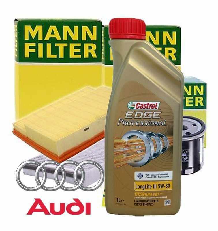 Kit tagliando olio motore 5lt Castrol EDGE Professional LL 03 5W-30 +Filtri Mann - Audi A1 (8X) 1.8 TFSI| 10-