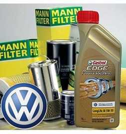 Kit tagliando olio motore 5lt Castrol EDGE Professional LL 03 5W-30 +Filtri Mann Golf VI/Cabrio VI/Golf Plus -1.6 TDI/08-