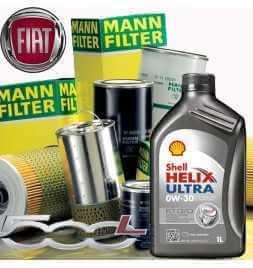 Kit tagliando olio motore 5lt Shell Helix Ultra ECT C2/C3 0W-30 + Filtri Mann Filter-Fiat 500 L 1.6 D MultiJet /12-