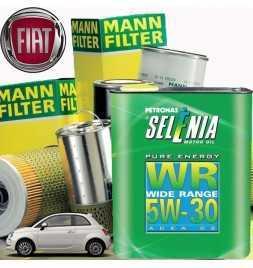 Kit tagliando olio motore 4lt SELENIA WR PURE ENERGY 5W-30 ACEA C2 + Filtri Mann Filter-Fiat Nuova 500 (150) 1.4 16V |07-