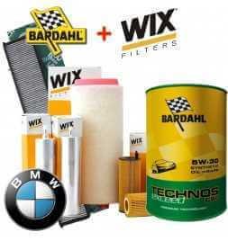 Kit tagliando 4 FILTRI Wix + 8LT OLIO 5W30 BARDAHL TECHNOS C60 EXCEED BMW 5 (E61-E60)