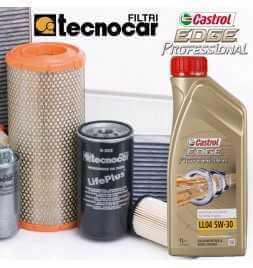 C3 II 1.4 HDI II serie cambio olio motore 5w30 Castrol Edge Professional LL 04 e 4 filtri Tecnocar per cod mot DV4C dal 01/10