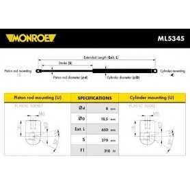 Ammortizzatore pneumatico, Cofano motore MONROE codice ML5345