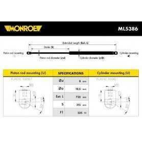 Ammortizzatore pneumatico, Cofano motore MONROE codice ML5386