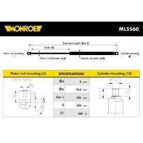 Ammortizzatore pneumatico, Cofano motore MONROE codice ML5560