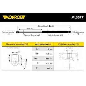 Ammortizzatore pneumatico, Cofano motore MONROE codice ML5577