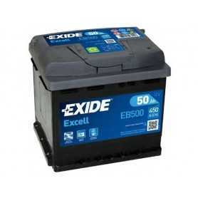 Batterie voiture 50 AH POSITIVE A DROITE 450A Exide Excell ORIGINAL EB500