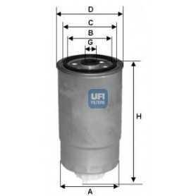 Filtro carburante UFI codice 24.H2O.07