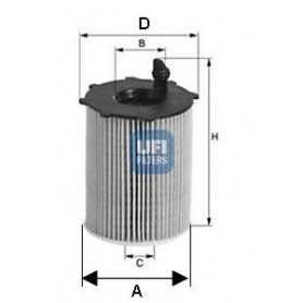 Filtro olio UFI codice 25.037.00