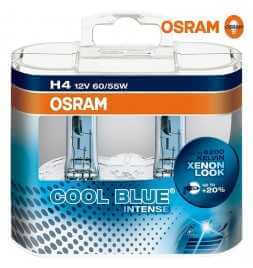 OSRAM COOL BLUE INTENSE H4 Lampada alogena per proiettori 64193CBI-HCB 4200K e 20% di luce in più - confezione Duobox