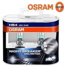 OSRAM NIGHT BREAKER UNLIMITED HB4 Lampada alogena per proiettori 110% in più di luce, 20% più bianca - confezione Duobox
