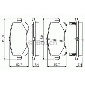 Kit plaquettes de frein BOSCH code 0986494496