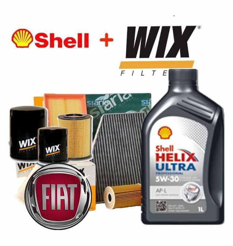 Kit tagliando olio SHELL HELIX 5W30 4LT+4 FILTRI FIAT PUNTO EVO 1.3 MJET 70 KW