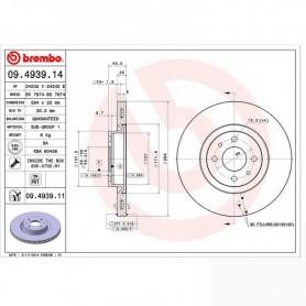 Brembo 09.4939.14 - Disque de frein avant - Jeu de 2 disques