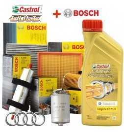 Kit tagliando 4 FILTRI Bosch + 5Lt olio Castrol Professional LongLife III 5W30 per Audi A3 1.9 TDI dal 1996 al 2003 96 Kw